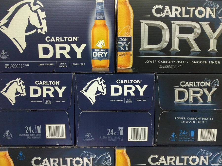 Carlton Dry Old and New Box Design