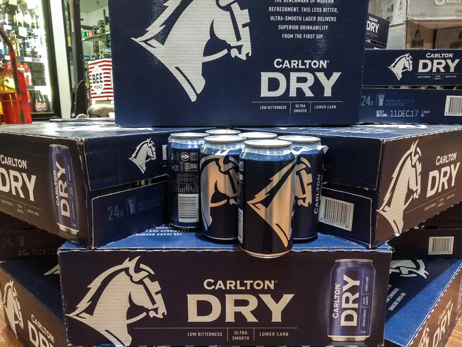 New Carlton Dry Design with cans